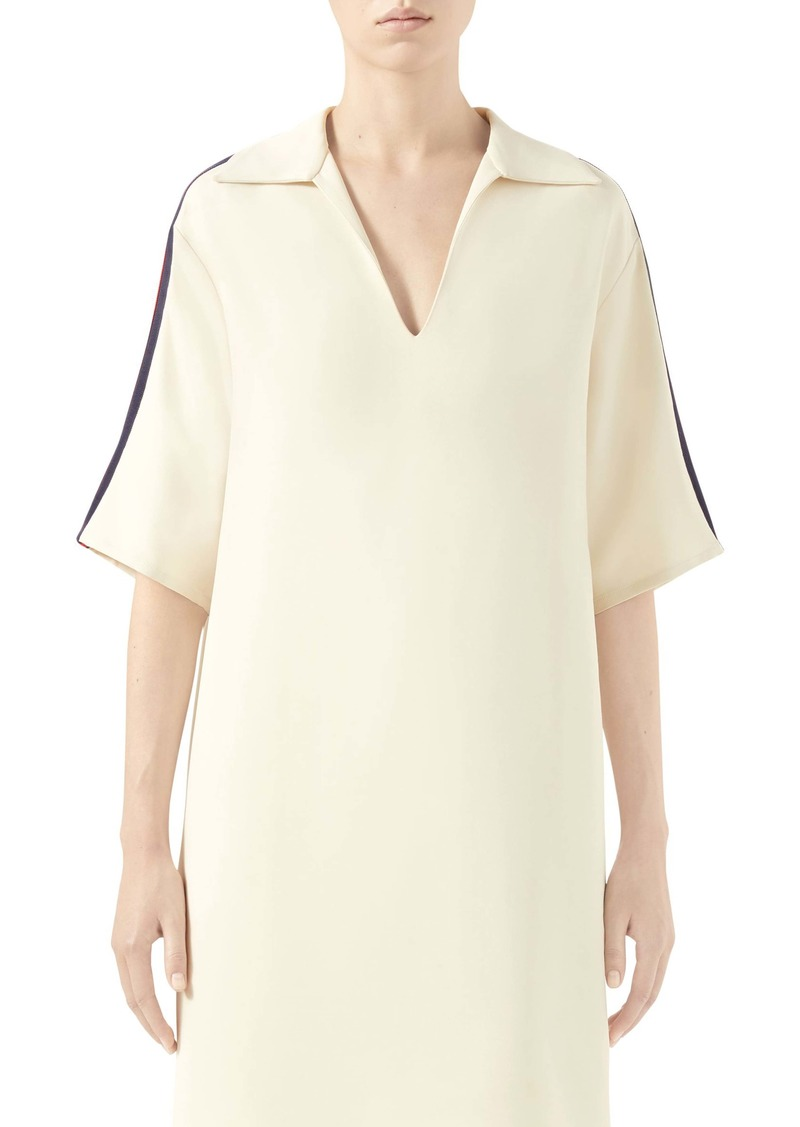 Gucci Web Trim Oversize Stretch Cady Shirt