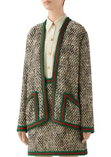 Gucci Braid Trim Wool Blend Tweed Jacket