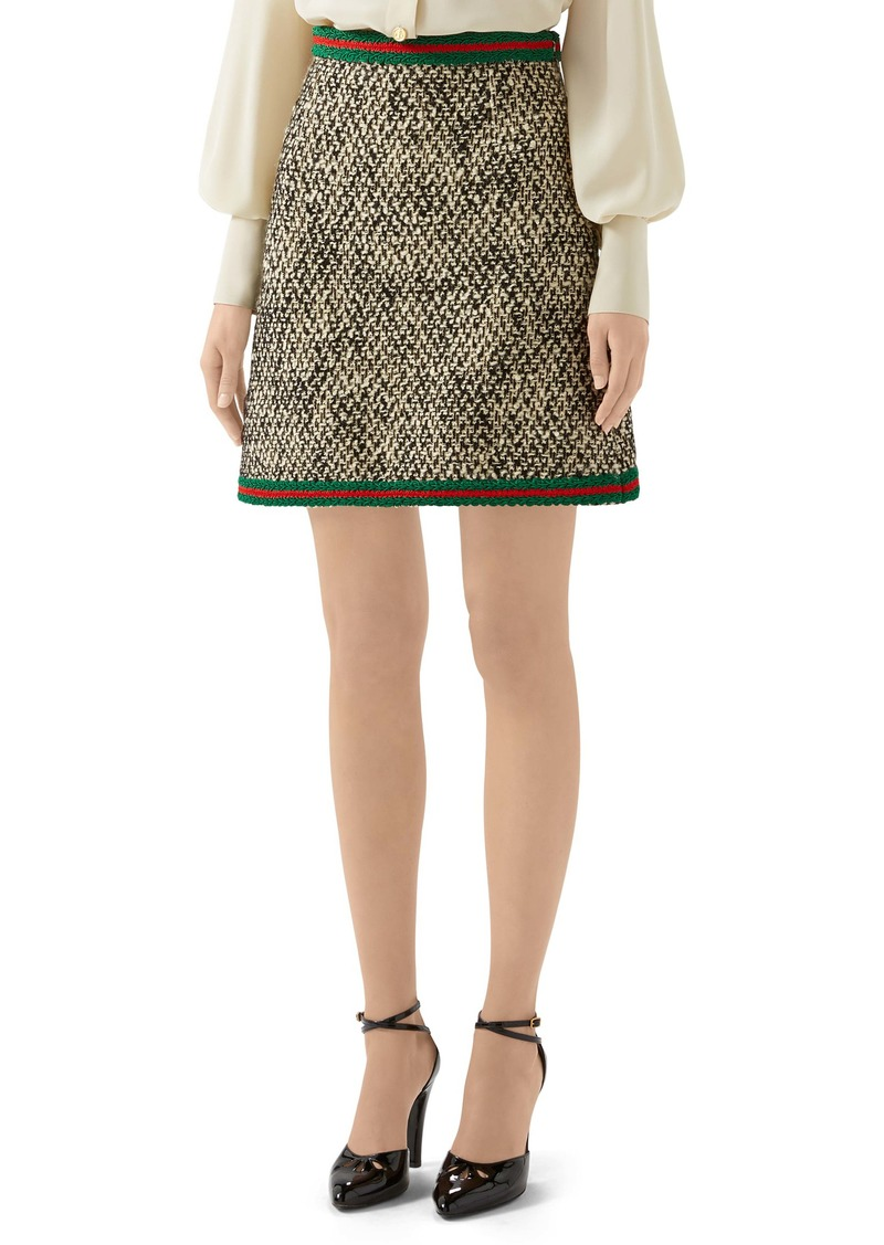 Gucci Web Trim Wool Blend Tweed Miniskirt