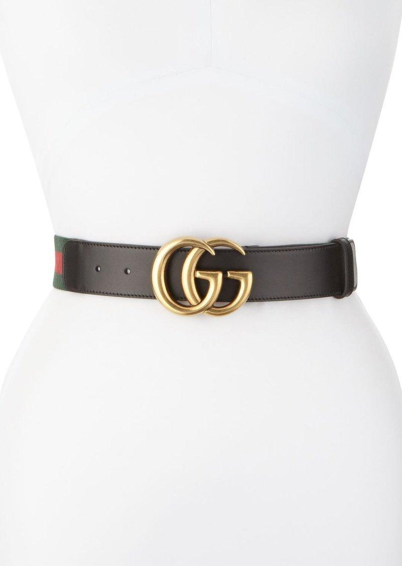 770563ef481 Gucci Gucci Wide Leather Web Belt Black