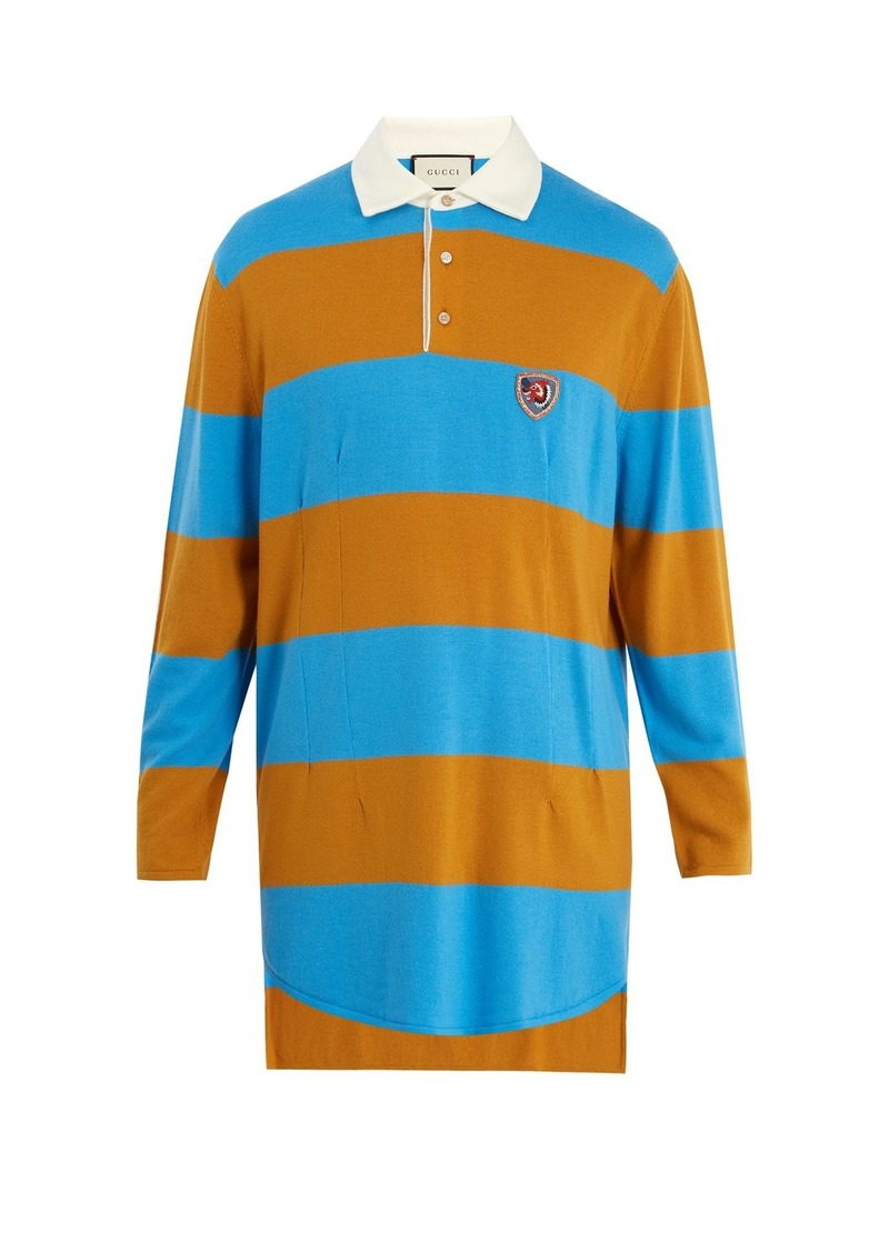 93ec95982c1 Gucci Gucci Wolf-patch striped wool polo shirt