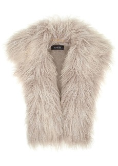 Gucci Woman Alpaca And Ribbed Wool Vest Mushroom