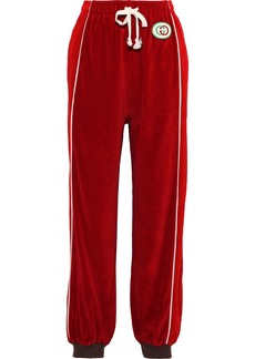 Gucci Woman Appliquéd Cotton-blend Velvet Track Pants Red