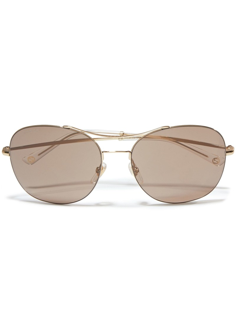 Gucci Woman Aviator-style Gold-tone Sunglasses Brown