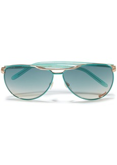 Gucci Woman Aviator-style Rose Gold-tone And Acetate Sunglasses Light Blue