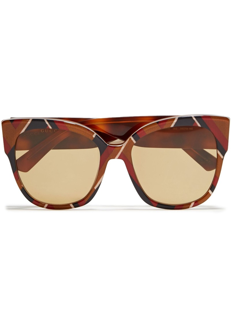 Gucci Woman Cat-eye Printed Acetate Sunglasses Brown