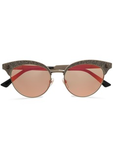 Gucci Woman Cat-eye Printed Gold-tone Mirrored Sunglasses Gold
