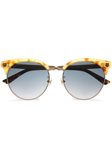 Gucci Woman Clubmaster Printed Acetate And Burnished Gold-tone Sunglasses Gold
