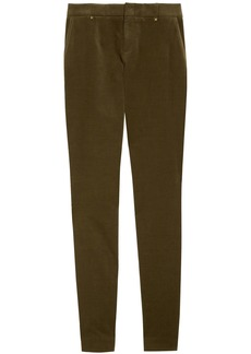 Gucci Woman Cotton-blend Velvet Skinny Pants Army Green