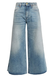 Gucci Woman Cropped Embroidered High-rise Wide-leg Jeans Mid Denim