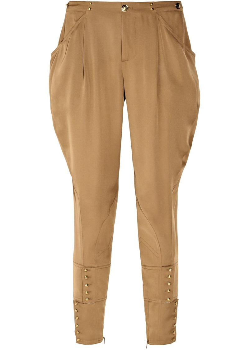 Gucci Woman Cropped Lace-up Embellished Silk Tapered Pants Camel