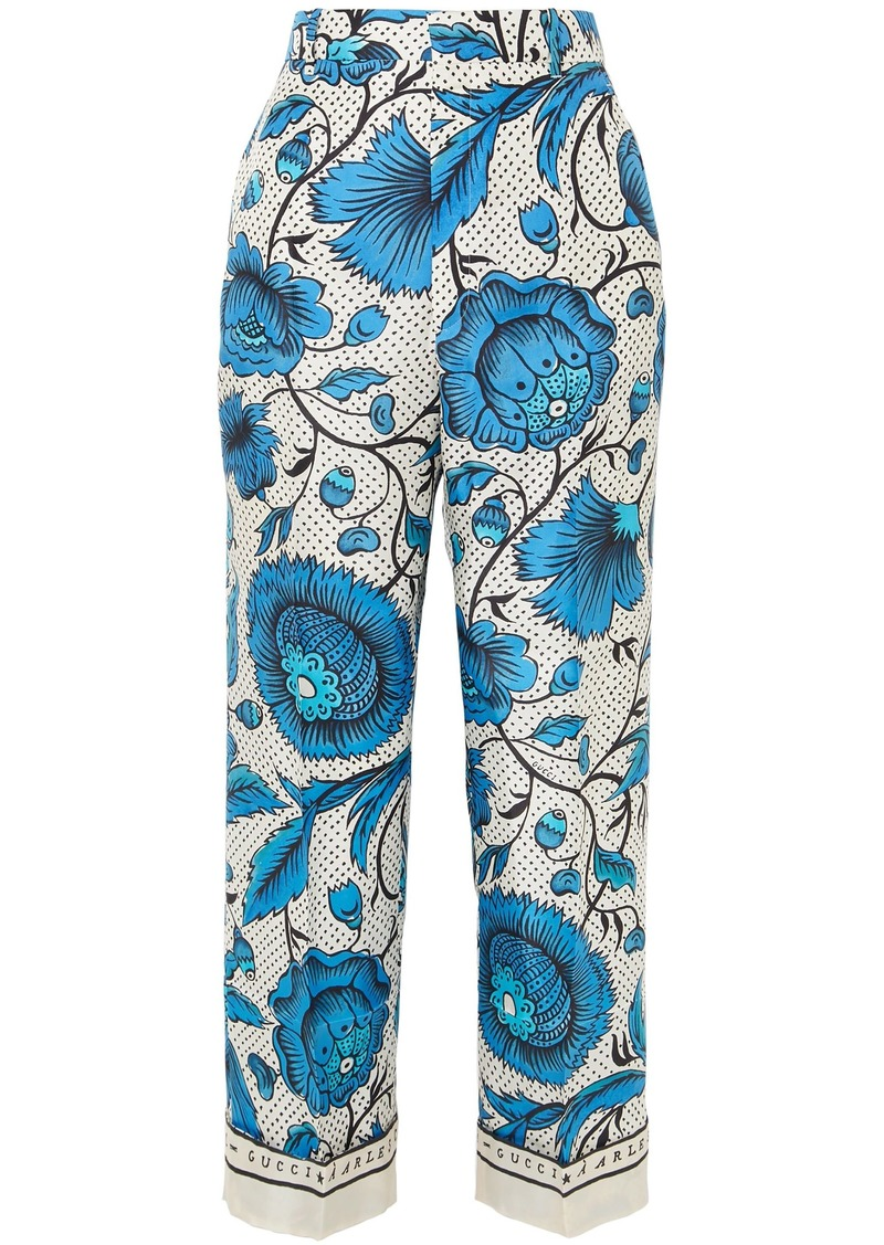 Gucci Woman Cropped Printed Silk-twill Wide-leg Pants Cream