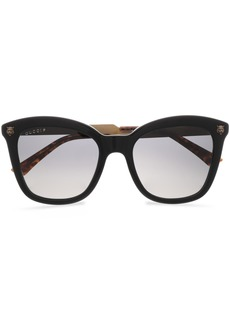 Gucci Woman D-frame Acetate And Burnished Gold-tone Sunglasses Black