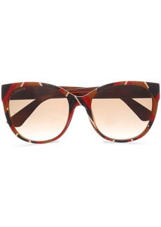 Gucci Woman D-frame Striped Acetate Sunglasses Brick