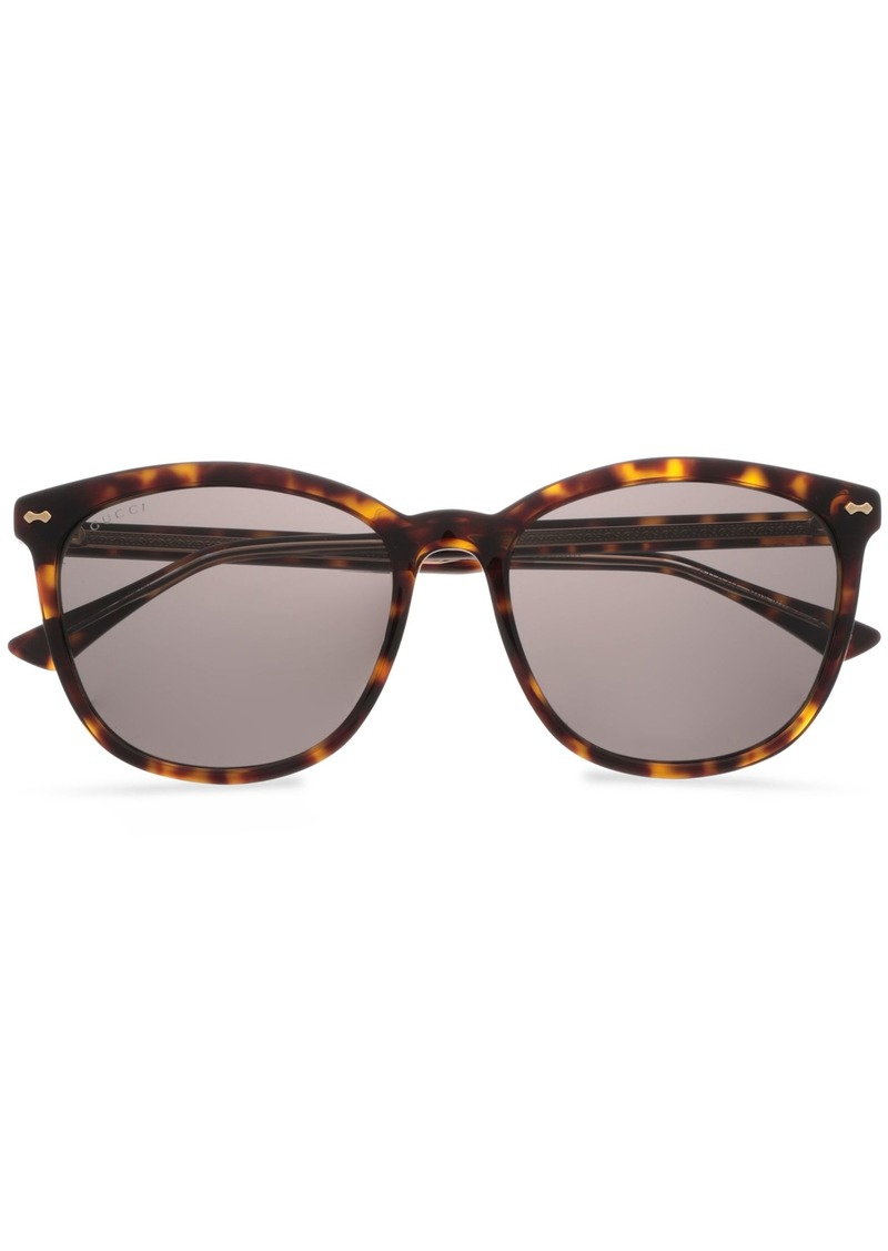 Gucci Woman D-frame Tortoiseshell Acetate Sunglasses Brown
