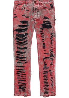 Gucci Woman Distressed Painted Straight-leg Jeans Red
