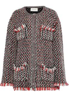 Gucci Woman Embellished Wool-blend Bouclé Cardigan Black