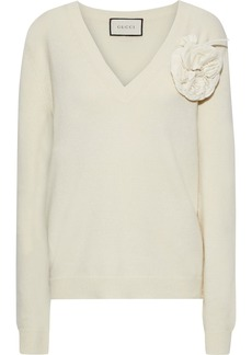 Gucci Woman Floral-appliquéd Wool And Cashmere-blend Sweater Ivory