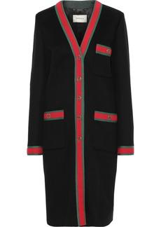 Gucci Woman Grosgrain-trimmed Wool Coat Black