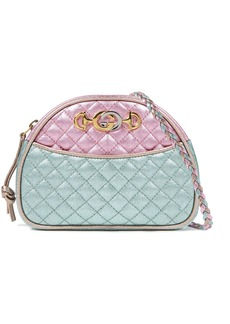 Gucci Woman Heavenly Quilted Metallic Textured-leather Shoulder Bag Turquoise