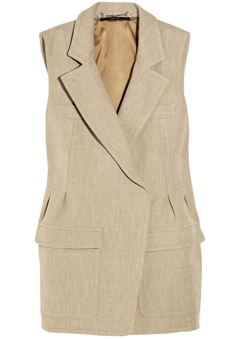 Gucci Woman Linen And Cotton-blend Jacket Beige