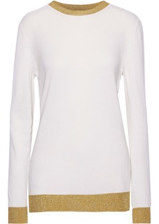 Gucci Woman Metallic Cashmere And Silk-blend Sweater Ivory