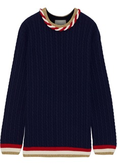 Gucci Woman Metallic-trimmed Cable-knit Wool And Cashmere-blend Sweater Navy