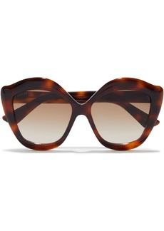 Gucci Woman Oversized Butterfly-frame Tortoiseshell Acetate Sunglasses Brown