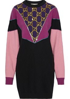 Gucci Woman Oversized Sequin-embellished Color-block Wool Sweater Black
