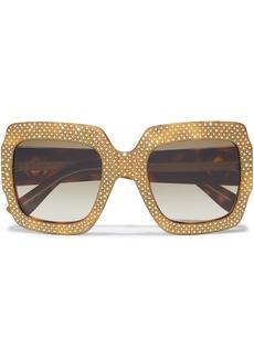 Gucci Woman Oversized Square-frame Embellished Tortoiseshell Textured-acetate Sunglasses Chocolate