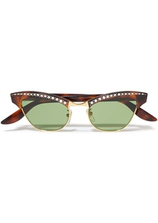 Gucci Woman Pixie Cat-eye Embellished Gold-tone And Tortoiseshell Acetate Sunglasses Light Green