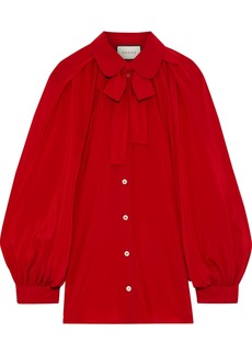 Gucci Woman Pussy-bow Silk Crepe De Chine Blouse Red