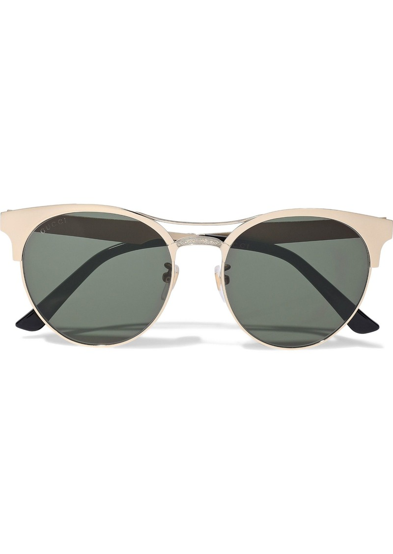Gucci Woman Round-frame Gold-tone Sunglasses Gold