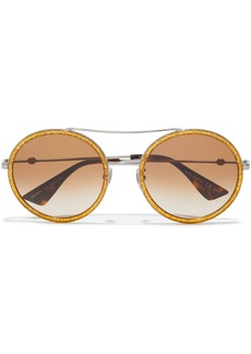 Gucci Woman Round-frame Gunmetal-tone And Glittered Acetate Sunglasses Gold