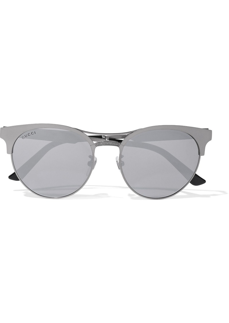 Gucci Woman Round-frame Gunmetal-tone Mirrored Sunglasses Anthracite
