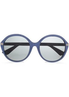 Gucci Woman Round-frame Printed Acetate Sunglasses Royal Blue