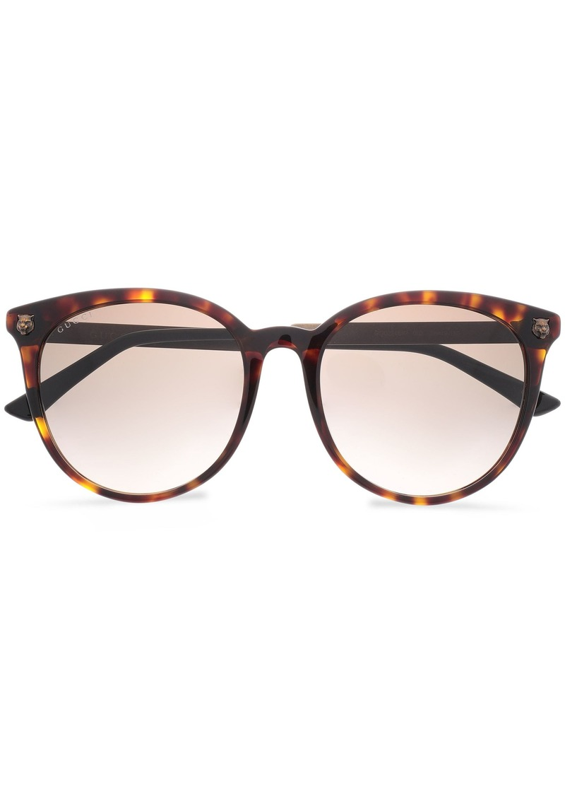 Gucci Woman Round-frame Tortoiseshell Acetate And Burnished Gold-tone Sunglasses Animal Print
