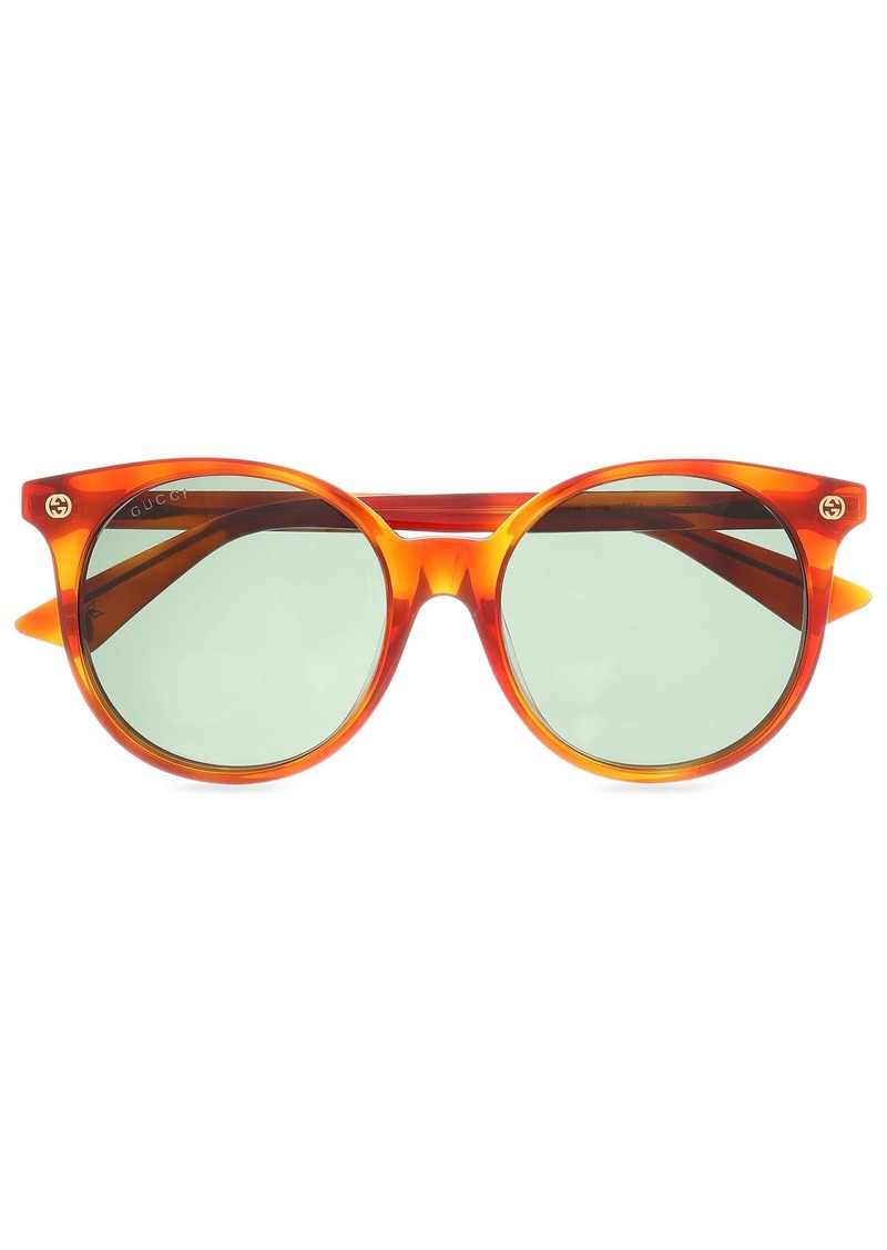 Gucci Woman Round-frame Tortoiseshell Acetate Sunglasses Animal Print