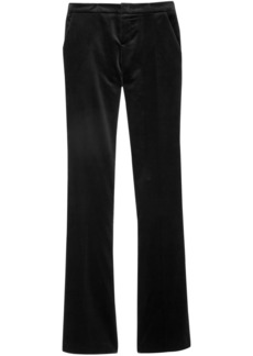Gucci Woman Satin-trimmed Cotton-blend Velvet Bootcut Pants Black