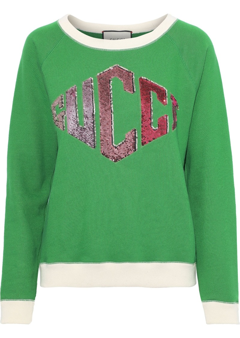 Gucci Woman Sequin-embellished French Cotton-terry Sweatshirt Green
