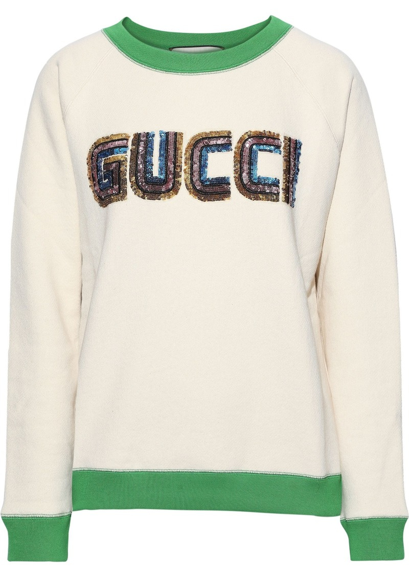 Gucci Woman Sequin-embellished French Cotton-terry Sweatshirt Ivory