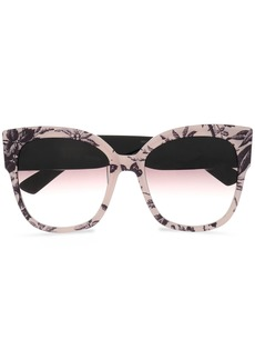 Gucci Woman Square-frame Floral-print Acetate Sunglasses Pastel Pink