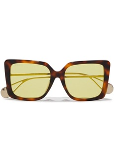 Gucci Woman Square-frame Gold-tone And Tortoiseshell Acetate Mirrored Sunglasses Brown