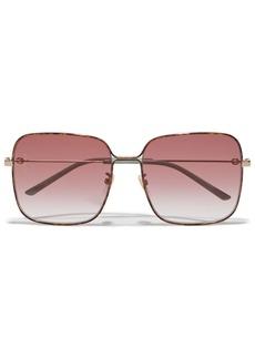 Gucci Woman Square-frame Gold-tone Sunglasses Gold