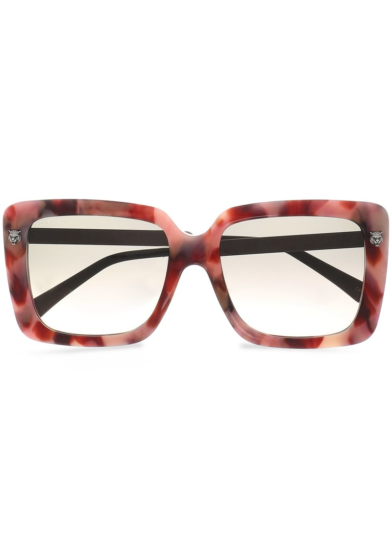Gucci Woman Square-frame Marbled Acetate And Burnished Silver-tone Sunglasses Antique Rose