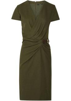 Gucci Woman Wrap-effect Buckled Wool-felt Dress Army Green