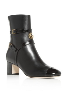 Gucci Women's Geraldine Leather Cap-Toe Leather Boots