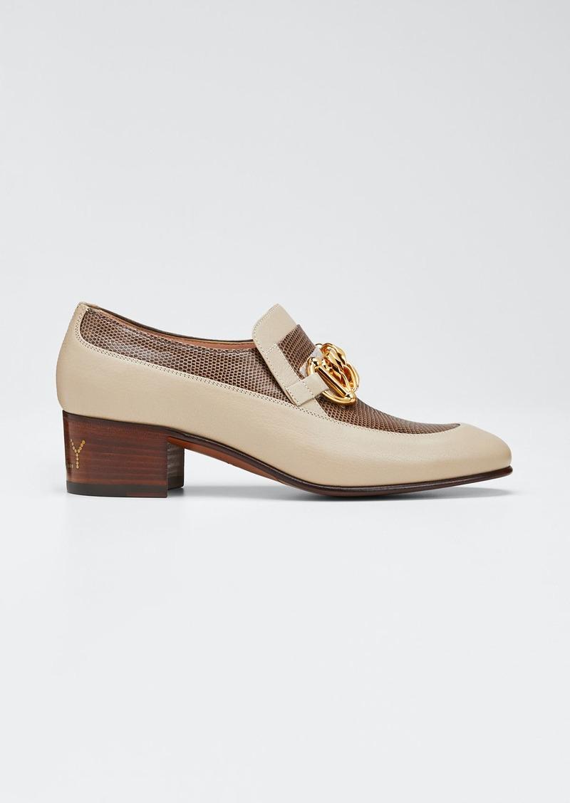 Gucci Women's Leather & Lizard Horsebit Chain Loafers