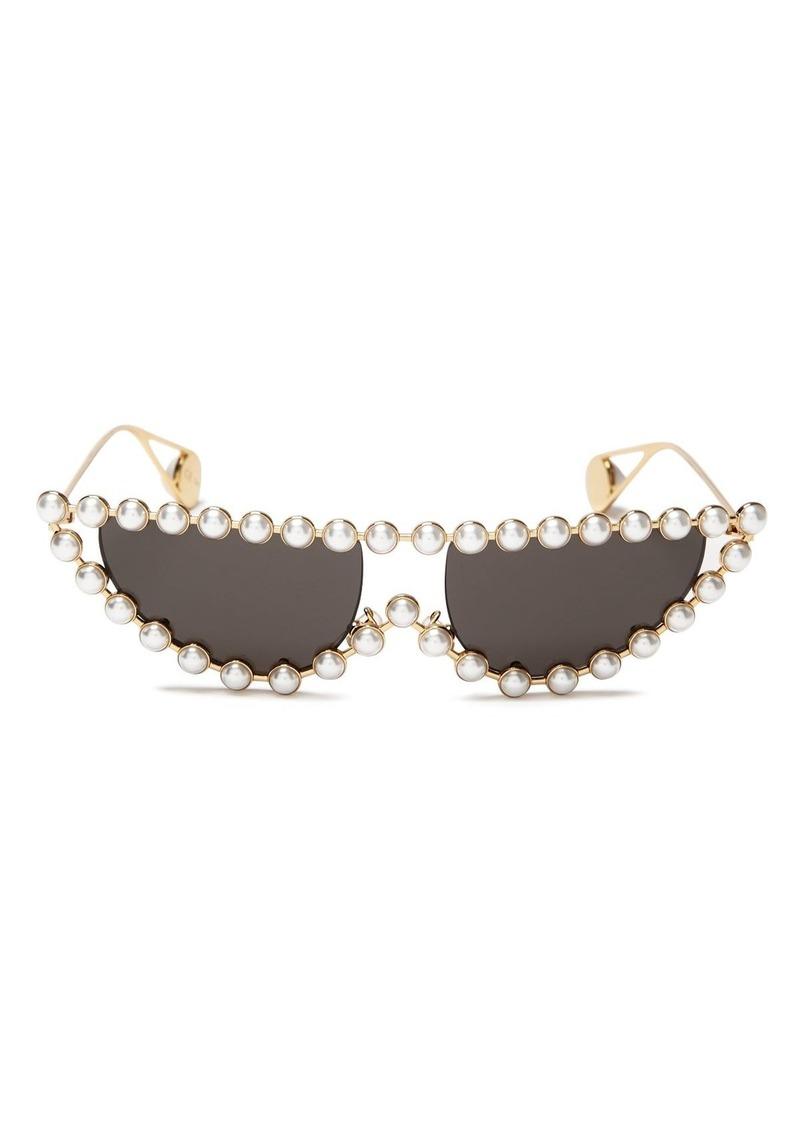 Gucci Women's Simulated Pearl-Embellished Cat Eye Sunglasses, 53mm