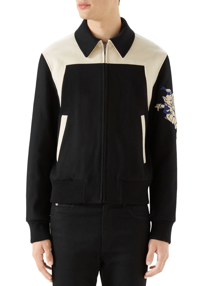 ae88d392744 Gucci Gucci Wool Bomber with Cat Appliqué